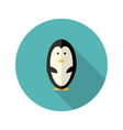 Penguin Flat Icon over blue vector image