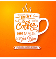Poster with coffee cup on a bright cheerful vector image vector image