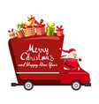 santa claus merry christmas drives a delivery van vector image vector image