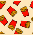 seamless pattern with french fries design vector image