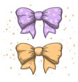 set of vintage hand drawn ribbon bows vector image