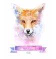 set watercolor cute fox vector image vector image