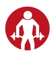 silhouette man fitness dumbbell design vector image
