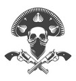 skull with sombrero and two revolvers tattoo vector image