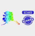 spectrum mosaic alaska map and grunge scabies vector image vector image