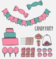 Sweets and candies party ideas vector image