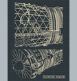 turbojet engine drawings vector image vector image
