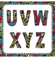 u v w x y z letters alphabet with ethnic motifs vector image