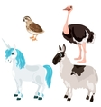 Unicorn ostrich deer and little bird vector image vector image