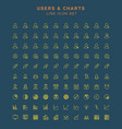 users and charts line icon set vector image vector image