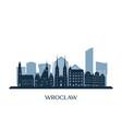 Wroclaw skyline monochrome silhouette