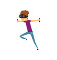 young man cartoon character using virtual reality vector image vector image