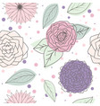seamless pattern multicolor leaves and flowers vector image