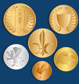 different metal coins blue background vector image