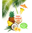 Beach tropical cocktail pina colada with garnish vector image
