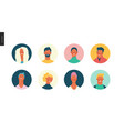 bright people portraits set - young men and women vector image