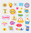 bright stickers with short and expressive phrases vector image