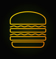 burger yellow icon fast food concept sign vector image