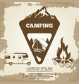 camping label bonfire and travel bus vector image vector image