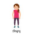 cartoon little girl angry feeling vector image vector image