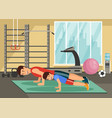 cartoon smiling dad and son push up in gym vector image vector image