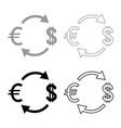 currency exchange icon set grey black color vector image vector image