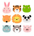 cute hand drawn animals characters collection set vector image