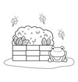 cute toad with bush in the landscape vector image vector image