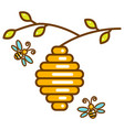 cute vespiary with bees line isolated icon vector image vector image