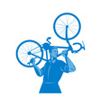 cyclist mechanic holding spanner and carry bicycle vector image