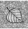 Doodle pattern with black and white autumn leaf vector image vector image