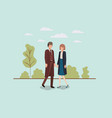 elegant business couple walking in the park vector image