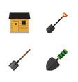 flat icon garden set of shovel stabling trowel vector image
