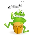frog playing drum vector image vector image