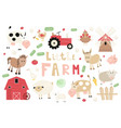 funny farm animals set vector image