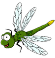 funny green dragonfly cartoon vector image