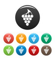 green grape icons set color vector image