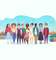 group of happy people or company team in casual vector image vector image
