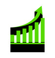 growing graph sign green 3d icon with vector image vector image