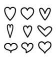 hearts line icon valentine love set isolated on vector image