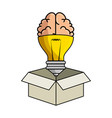 isolated bulb and brain vector image