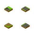 isometric road set of subway flat turn and other vector image vector image