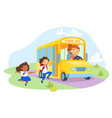 little schoolkids character holding hands wearing vector image