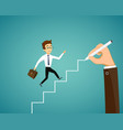 man is runs up the stairs career and business vector image