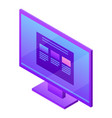 monitor desktop icon isometric style vector image vector image