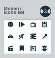 music icons set with cinema vinyl playlist and vector image