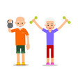 old people doing exercises with dumbells and vector image