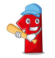 playing baseball character number one on the vector image