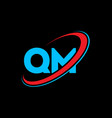qm q m letter logo design initial letter qm vector image vector image