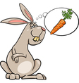 rabbit dream about carrot cartoon vector image vector image